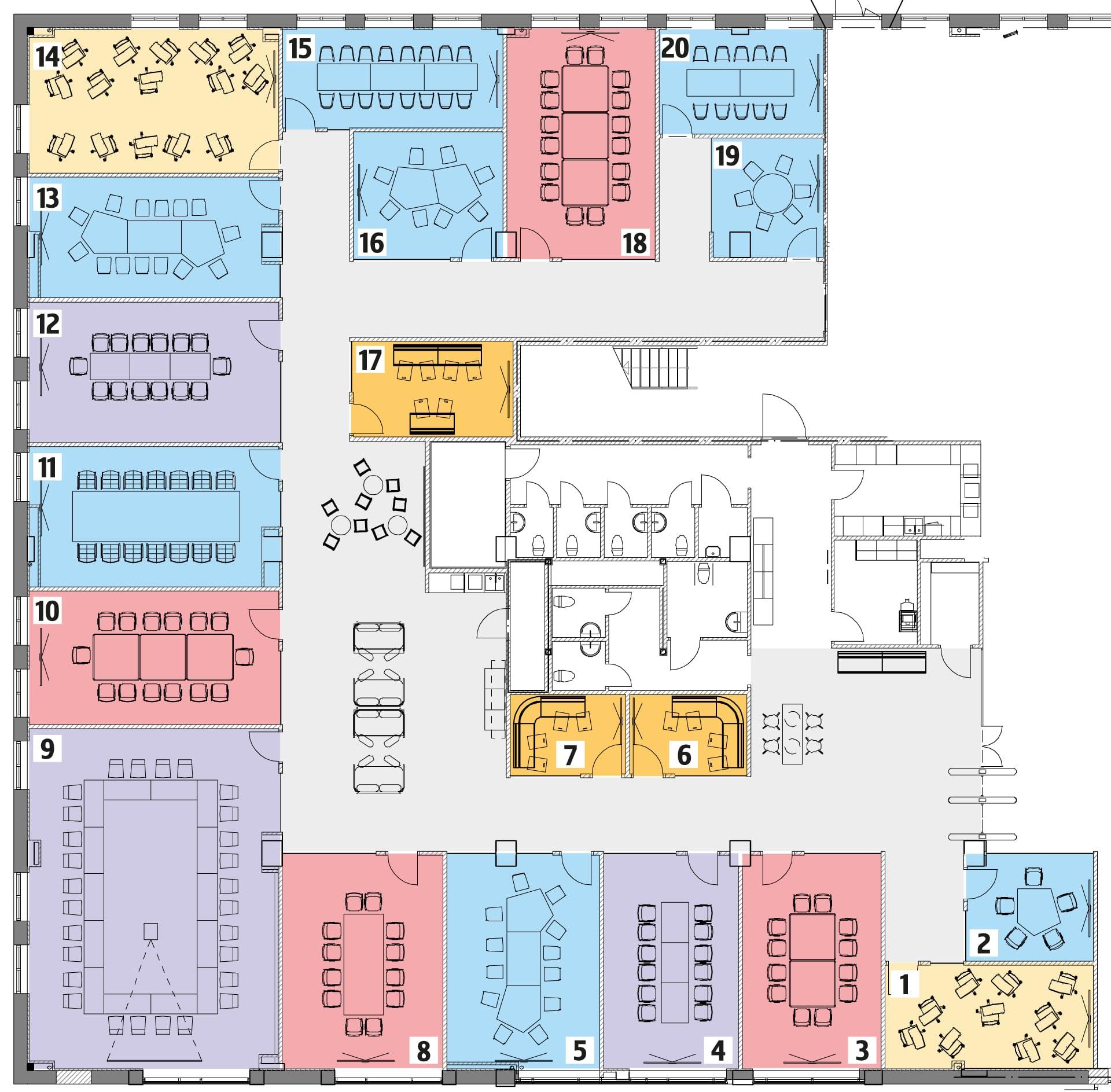 Planritning över konferensytan på plan 1, med rummen färgkodade efter dess olika typer av möblering.